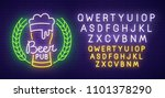 beer pub  neon sign  bright... | Shutterstock .eps vector #1101378290