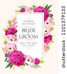 vintage wedding invitation | Shutterstock .eps vector #1101379133