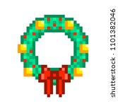 christmas wreath with golden... | Shutterstock .eps vector #1101382046
