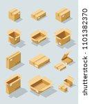 isometric cardboard box vector... | Shutterstock .eps vector #1101382370