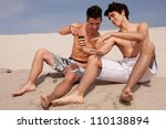 two young friends relaxing at... | Shutterstock . vector #110138894