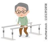 senior man learning to walk in... | Shutterstock .eps vector #1101392858