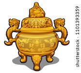vintage vase made of gold with... | Shutterstock .eps vector #1101393359