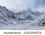 Lobuche mt. base camp is coverd by snow