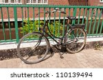 Old bicycles on a streets of Huamburg, Germany - stock photo