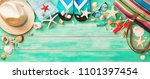 beach accessories with... | Shutterstock . vector #1101397454