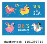 it's summertime  young people... | Shutterstock .eps vector #1101399716