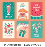 hello summer cards. set of... | Shutterstock .eps vector #1101399719