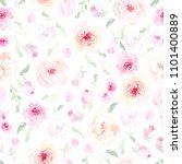 watercolor seamless floral...   Shutterstock . vector #1101400889