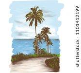 landscape road through the... | Shutterstock .eps vector #1101412199