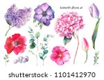 hand painted floral elements... | Shutterstock . vector #1101412970