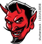 devil face with a wily smile.  | Shutterstock .eps vector #1101413858