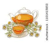 chamomile tea illustration | Shutterstock .eps vector #1101415853