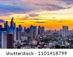 amazing twilight skyline and... | Shutterstock . vector #1101418799