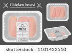 chicken breast packaging on the ... | Shutterstock .eps vector #1101422510