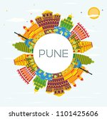 pune india skyline with color... | Shutterstock . vector #1101425606