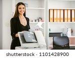 business woman using a printer. ... | Shutterstock . vector #1101428900