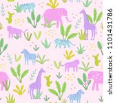 animals in the jungle. cute... | Shutterstock .eps vector #1101431786