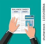 accountant with report and a... | Shutterstock .eps vector #1101438866