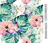 hawaiian flowers  exotic plants ... | Shutterstock . vector #1101448550