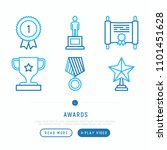 awards thin line icons set ... | Shutterstock .eps vector #1101451628