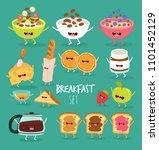 funny breakfast set. comic... | Shutterstock .eps vector #1101452129
