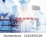 scientist using tablet in the... | Shutterstock . vector #1101455120