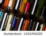 red  rose and white wine... | Shutterstock . vector #1101456320