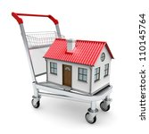 house on the trolley. isolated... | Shutterstock . vector #110145764