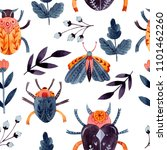 watercolor insects seamless... | Shutterstock . vector #1101462260