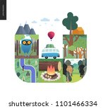 simple things   forest set on a ... | Shutterstock .eps vector #1101466334