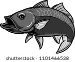 black fish vector with white... | Shutterstock .eps vector #1101466538