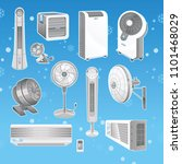 types of fans and air...   Shutterstock .eps vector #1101468029