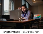 young businessman sitting alone ...   Shutterstock . vector #1101483704