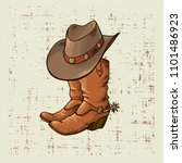 cowboy boots and hat.vector... | Shutterstock .eps vector #1101486923