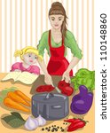 mother and daughter are cooking.... | Shutterstock .eps vector #110148860