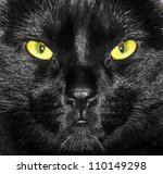 Stock photo yellow and green eyes of black cat face close up 110149298