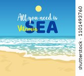 summer greeting beach view with ... | Shutterstock .eps vector #1101493760