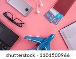 plane  air tickets  passport ... | Shutterstock . vector #1101500966