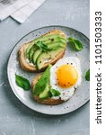 avocado sandwich with fried egg ... | Shutterstock . vector #1101503333