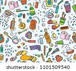 bathroom set  washing  bathing  ... | Shutterstock .eps vector #1101509540