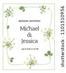 wedding invitation. flowers.... | Shutterstock .eps vector #1101510956