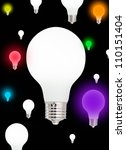 light bulbs on black background.... | Shutterstock . vector #110151404