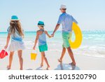 family of dad and kids walking... | Shutterstock . vector #1101520790