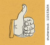 retro styled thumb up symbol on ... | Shutterstock .eps vector #110153654