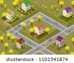 Flat Street and Houses. Landscape GPS Navigation Infographic 3d Isometric Concept. Vector