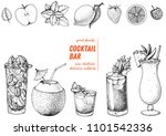 alcoholic cocktails hand drawn... | Shutterstock .eps vector #1101542336