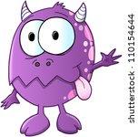 cute purple monster vector | Shutterstock .eps vector #110154644