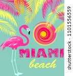 mint color poster with miami... | Shutterstock . vector #1101556559