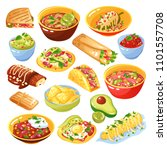 traditional mexican food dishes ... | Shutterstock .eps vector #1101557708